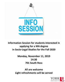 image of the poster promoting the November 11 Socio-Legal Studies MA information session